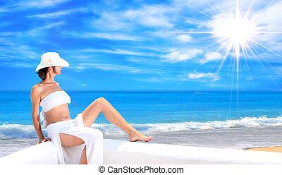 mulher relaxando, em, a, tarde