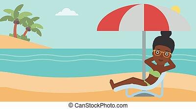 mulher relaxando, ligado, cadeira praia, vetorial, illustration.