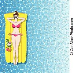 mulher relaxando, ligado, colchão inflável, em, a, mar