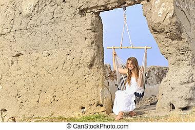 mulher relaxando, ligado, rede