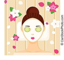 mulher relaxando, máscara, jovem, facial, spa