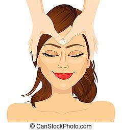 mulher relaxando, tratamento, facial, desfrutando, massagem