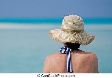 mulher, relaxe, ilha, viagem, férias, tropicais, durante