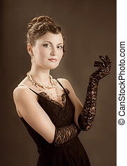 mulher, renascimento retro, portrait.