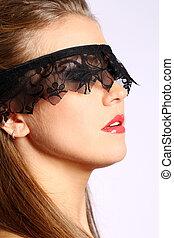 mulher, renda, dela, sobre, máscara, rosto, pretas