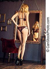 mulher, renda, langerie, loura, espelho, excitado, modelo