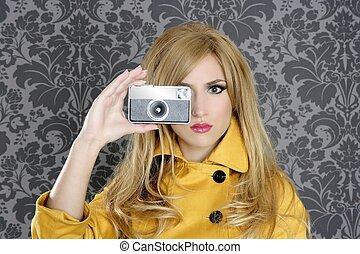 mulher, repórter, fotógrafo, moda, retro, câmera