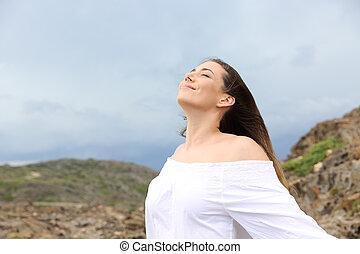mulher, respirar, tempestade, fundo