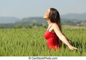 mulher, respirar, trigo, prado, ar, tocar, fresco