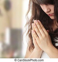 mulher rezando, jovem, caucasiano