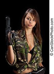 mulher, rifle