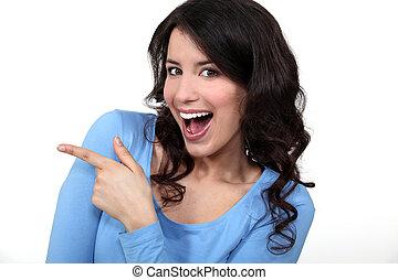 mulher, rir, apontar