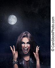 mulher, rock-star, mal