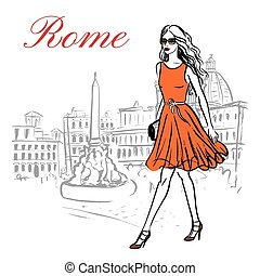 mulher, roma