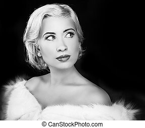 mulher, romanticos, &, beauty., pretas, retro, branca, style.