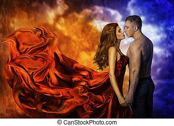 mulher, romanticos, fogo, amor, par, quentes, beijo, gelado, homem, menina