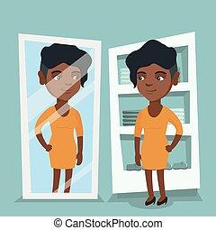 mulher, room., africano, vestindo, tentando, vestido