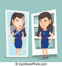 mulher, room., vestindo, tentando, vestido, caucasiano
