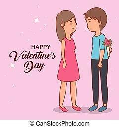 mulher, rosa, par, dia dos namorados, homem