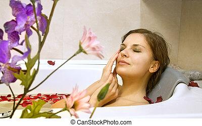 mulher, rose-petals, banho
