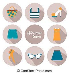 mulher, roupa, ícone, jogo