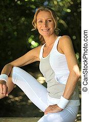 mulher, roupas, condicão física
