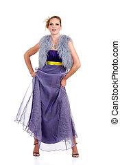 mulher, roxo, tocando, vestido