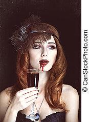 mulher, ruivo, vindima, vampiro, vidro, foto, blood., style.