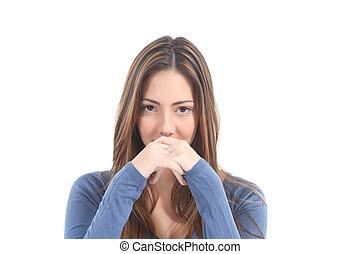 mulher, sério, expressão facial