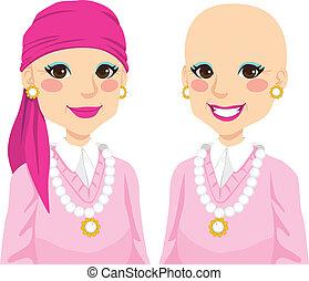 mulher sênior, com, câncer