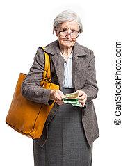 mulher sênior, contagem, dinheiro, sobre, branca