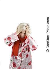 mulher sênior, dor de cabeça