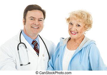 mulher sênior, e, dela, doutor