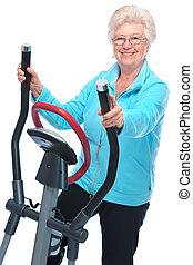 mulher sênior, exercitar, ligado, stepper