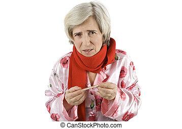 mulher sênior, gripe, tendo