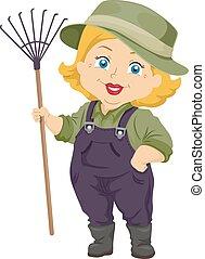mulher sênior, jardinagem, ancinho