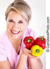 mulher sênior, pepper., diet.