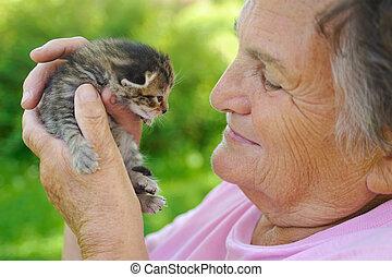 mulher sênior, segurando, pequeno, gatinho