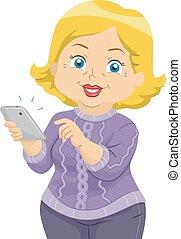 mulher sênior, telefone pilha