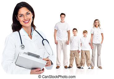 mulher, saúde, cuidado, família, doutor