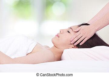 mulher, saúde, mentindo, tabela, spa, massagem