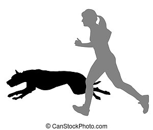 mulher, sacudidas, com, cão