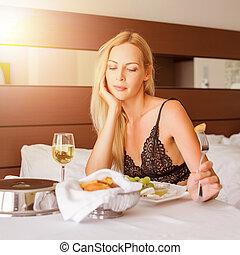 mulher, sala, hotel, almoço, férias, tendo