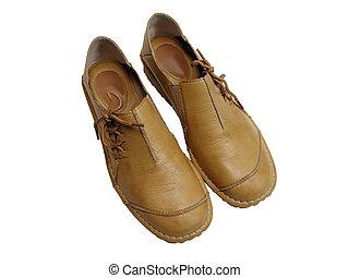 mulher, sapatos, confortável