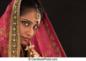 mulher, sari, sul, tradicional, jovem, indianas, vestido