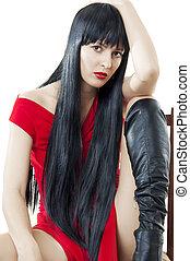 mulher, saudável, cabelo longo, pretas, luxuriant