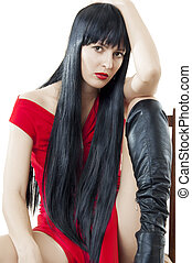 mulher saudável, cabelo preto, longo, luxuriant