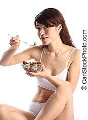 mulher saudável, comer, fruta