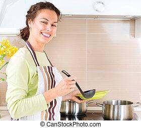 mulher, saudável, cozinhar, jovem, alimento, cozinha lar