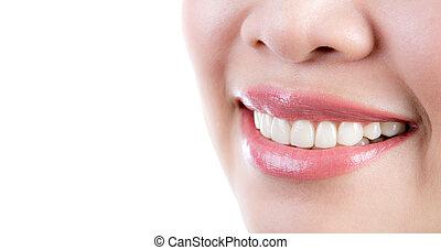 mulher saudável, dentes